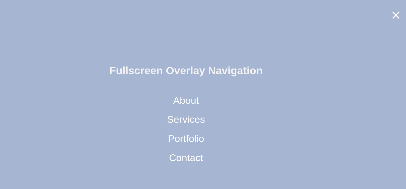 Two Methods of Full Screen Overlay Navigation