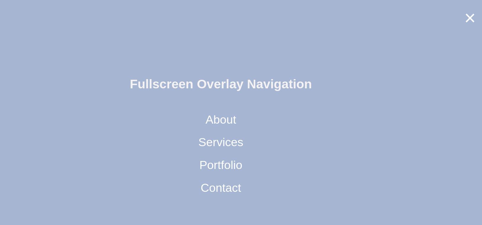 Two Methods of Full Screen Overlay Navigation