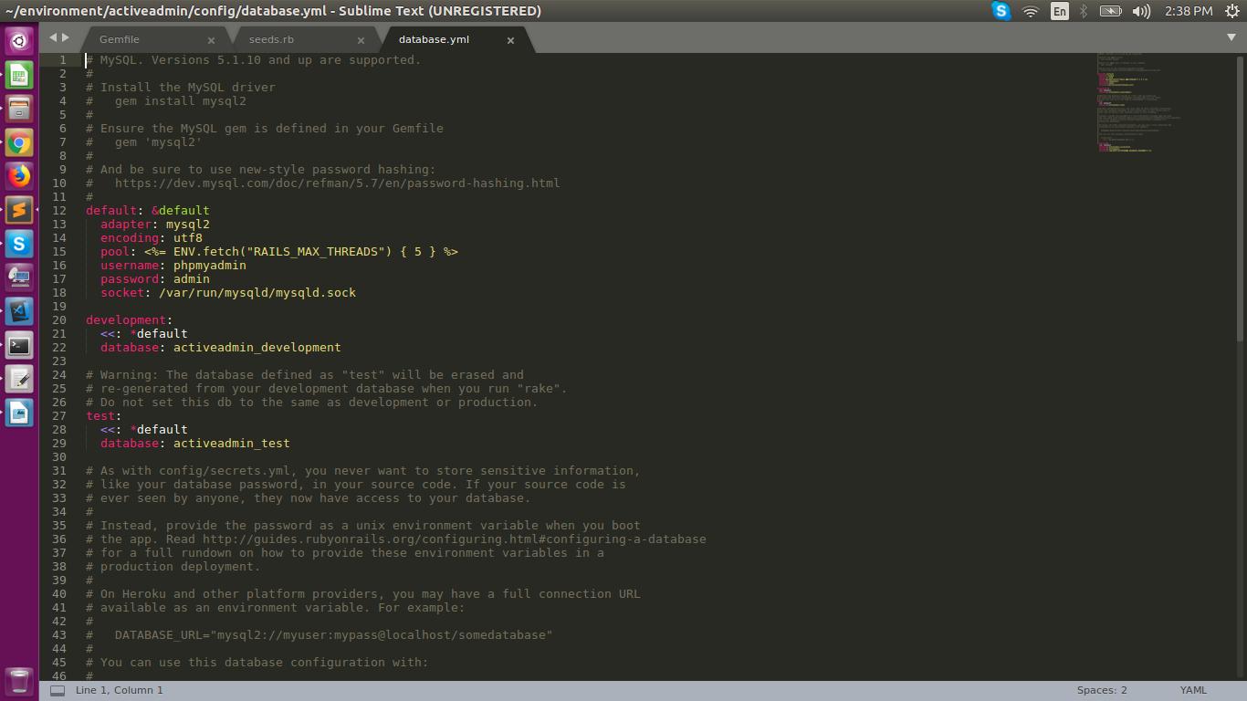 How to use MySQL in Ruby on Rails  on Ubuntu?
